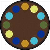Lots of Dots™ Rug, 7'7 Round, (12 dots), Earthtone