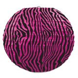 Cerise & Black Zebra Print 9 1/2 Paper Laterns