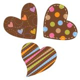 Dots on Chocolate Hearts 6 Designer Cut-Outs