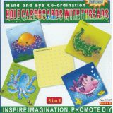 5 in 1 Hole Cardboards with Threads, Octopus, Crab, Crocodile, Fish, 10x10