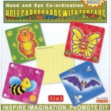 5 in 1 Hole Cardboards with Threads, Owl, Bee, Bat, Butterfly, 10x10