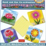 5 in 1 Hole Cardboards with Threads, Four Flowers, 10x10