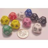 12 Sided Dice 1-12, 10 each