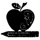 Apple/Pencil Rubber Stamp