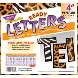 4 Uppercase Ready Letters Venture Font, Animal Prints