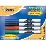 BIC® Great Erase® Dry Erase Markers, Fine Point, 4/pkg