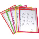C-Line® Reusable Dry Erase Pockets, Assorted Neon, 6 x 9, 10/pkg
