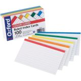 Oxford® Color-Coded Index Cards, 3 x 5, 100/pkg