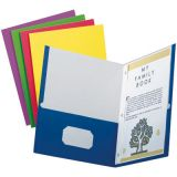 School Grade Twin Pocket Folders with Fasteners, Assorted Colors, 100/box