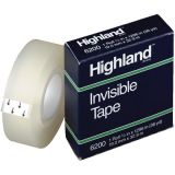 Highland Invisible Tape, 3/4 x 36 yds, 1 core