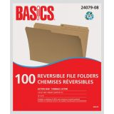 Basics® Reversible File Folders Letter Kraft 100/box