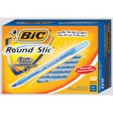 Bic® Round Stic® Ball Pens Medium Point Black 60/box