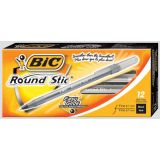 Bic® Round Stic® Pens Medium Point Black 12/box
