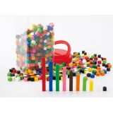 1cm/1g,  interlocking cubes, 10 colours, 1000 pcs in jar