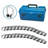 Personal Stereo/Mono Headphones Lab Pack, 24-Pack with leatherette ear cushions without volume control