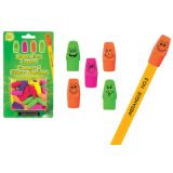 Merangue Happy Face Pencil-Top Erasers