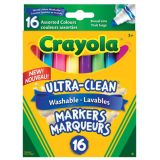 Crayola® Ultra-Clean™ Conical Broad Line Washable Markers Assorted Colours 16/pkg