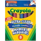 Crayola® Ultra-Clean™ Conical Broad Line Washable Markers Bold Colours 8/pkg