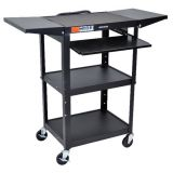 Adjustable Height Workstation with Drop Leaf Shelves