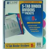 C-Line Pack of 5-Tab Poly Index Dividers. Assorted colors. Includes Double-sided, easy-load, slant pockets for extra storage of documents and media.