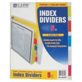 C-Line Pack of 5-Tab Poly Index Dividers. Assorted colors.