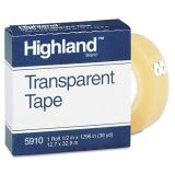 Highland Transparent Tape, 1/2 x 1296, 1 Core, Clear