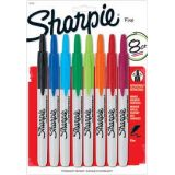 8 Color Set - Sharpie Retractable Fine Tip Permanent Markers Black Red Blue Green Orange Aqua Berry Lime