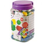 Giant Beads and Laces (100 Pieces 1 + 10 Cords) / Jar
