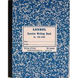 Cursive Composition Notebook GR-3 Ruled, Blue Marble Semi-Stiff Covers, 100 Pages