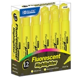 Fluorescent Yellow Highlighters ~ Desk Style ~ 12 per Box