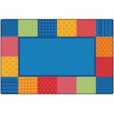 Pattern Blocks Rug, 6' x 9' Rectangle, Primary