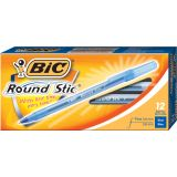 BIC® Round Stic® Ballpoint Pens, Fine Point 0.8mm, Blue, Dozen