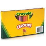 Crayola® Large Size Crayons, 16 crayons in a lift-lid box