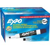 Expo® Low Odor Dry Erase Markers, Chisel Tip, Black, Pk of 12