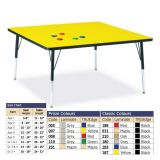 Berries Adjustable Activity Table -  Square (48x48) - Legs 15-24 (Elementary) - Grey/Red