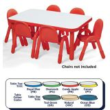 Baseline® Rectangle Table Large - 18 height (72x30), Candy Apple