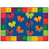 123 ABC Butterflies Carpet - Rectangle (5'5x7'8)