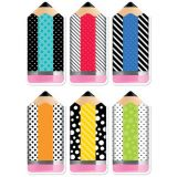 Bold & Bright Striped & Spotted Pencils 6 Designer Cut-Outs