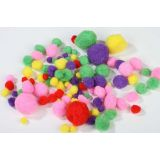 Assorted Coloured Pom Poms - 2 (50 Pk)