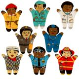 Medical Community Group Multicultural Set Of 8 Puppets