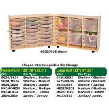 Hinged Interchangeable Bin Storage- Medium- Jumbo Bins/ Jumbo Bins