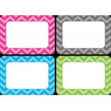 Chevron Name Tags/Labels - Assorted Colours (36/pk)