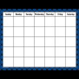Blue Plaid Calender Chart