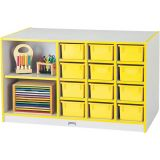 Rainbow Accents® Mobile Storage Island - with Trays - Yellow