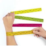 Plastic Smile Face Slap Bracelets, 12/Pack