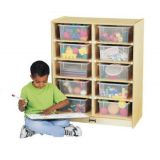 10-Tub Mobile Storage Unit with Clear Tubs