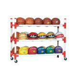 30 Basketball Cart with Upright Bars and Heavy Duty Casters, White, 54Lx19Wx42H