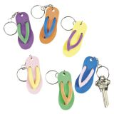 Plastic Flip Flop Key Chains, 12/Pack