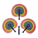 Rainbow Folding Fans, 12/Pack