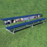 Aluminum Bench With Back And Shelf, 7.5'L x 9.5'W x 18H